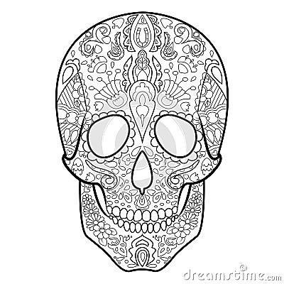 Livre de coloriage de cr ne pour le vecteur d 39 adultes illustration de vecteur image 68855978 - Coloriage de crane ...