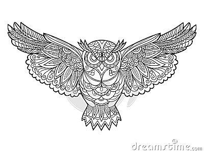 Livre de coloriage de hibou pour le vecteur d 39 adultes illustration de vecteur image 67717613 - Coloriage de hibou ...