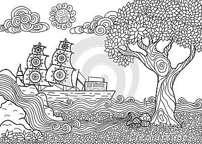 Livre de coloriage de paysage illustration de vecteur - Mandala paysage ...