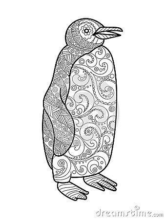 Livre de coloriage de pingouin pour le vecteur d 39 adultes - Coloriage pinguin ...