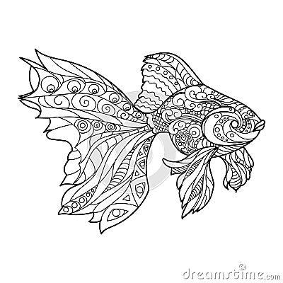 livre de coloriage de poissons d 39 or pour le vecteur d. Black Bedroom Furniture Sets. Home Design Ideas