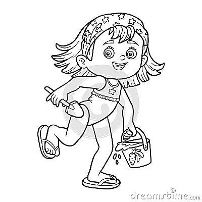 Livre de coloriage pour des enfants petite fille sur la plage illustration de vecteur image - Coloriage pour petite fille ...