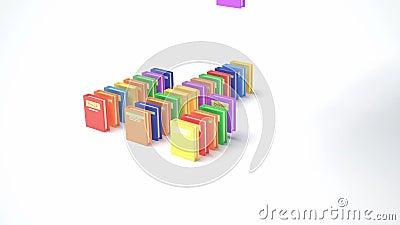 Livres de couleur tombant et diagramme de forme (animation 3d) banque de vidéos