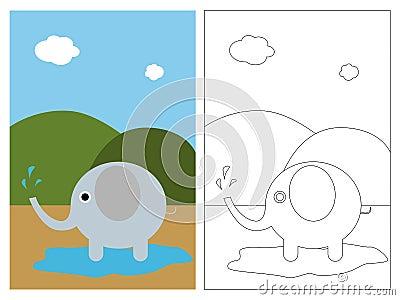 Livro da página da coloração - elefante