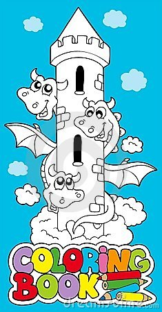 Livro de coloração com dragão 1
