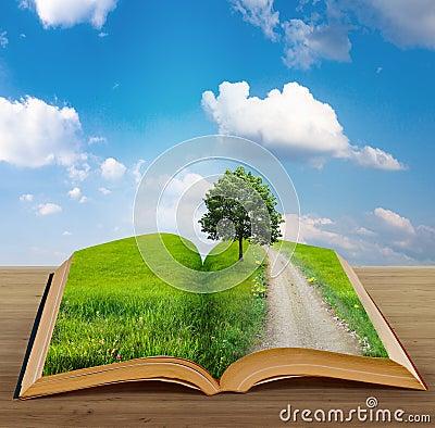 Livro mágico com uma paisagem