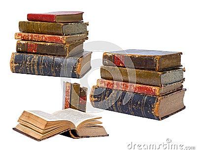 Livros antigos isolados