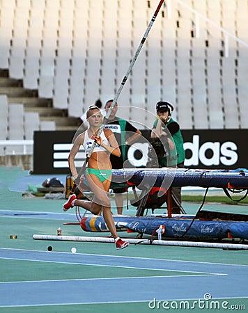 Liz Parnov from Australia celebrates silver medal Editorial Image
