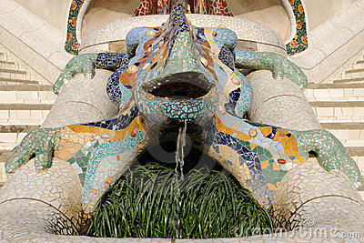 Lizard Fountain located in public Gaudi Parc Guell