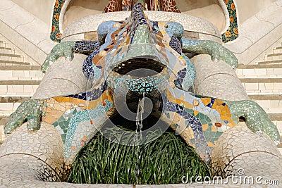 Lizard Fountain located in public Gaudi Parc Guell