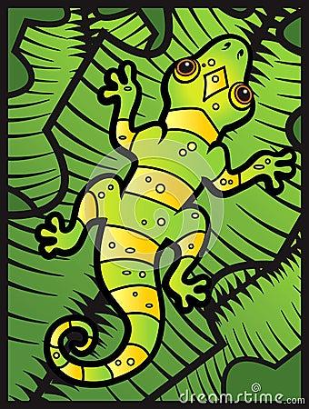 Lizard on Leaves