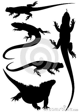 Lizard vector silhouettes