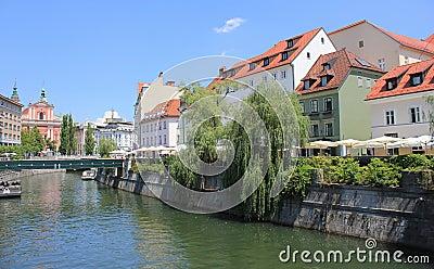Ljubljana centre with Ljubljanica river, Slovenia