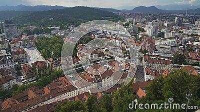 Ljubljana widok z lotu ptaka, wycieczka ekonomiczny i kulturalny centrum Slovenia, turystyka zbiory wideo