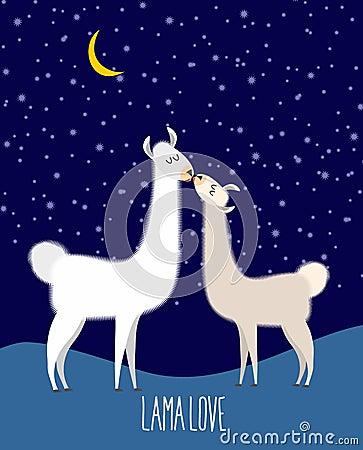 Free Llama Alpaca. Two Cute Llama Kiss At Night Under The Starlit Sky Royalty Free Stock Image - 55309616