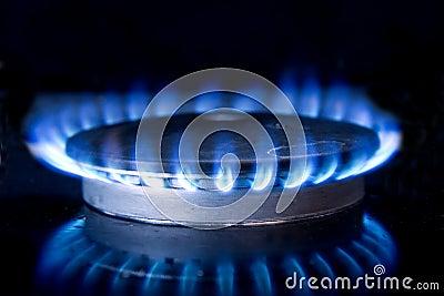 Llama del estufa top de la cocina imagen de archivo for Llama en la cocina