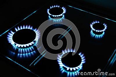 Llamas del gas de la cocina fotos de archivo imagen for Llama en la cocina