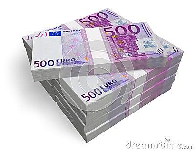 Lle pile di 500 euro banconote fotografie stock libere da diritti