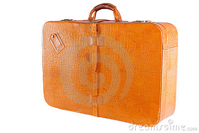 Lleather suitcase standing