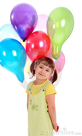 Llittle girl holding colorful balloons