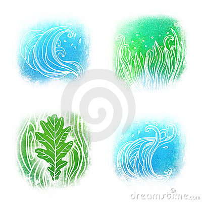 Llustrated icon set of waves an grass symbols
