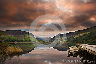 Llyn Nantlle at sunrise looking towards Mt Snowdon