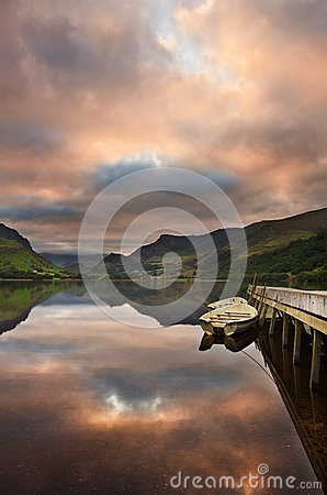 Llyn Nantlle at sunrise looking towards Snowdon