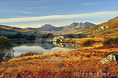 Llynnau Mymbyr to the Snowdon range, winter