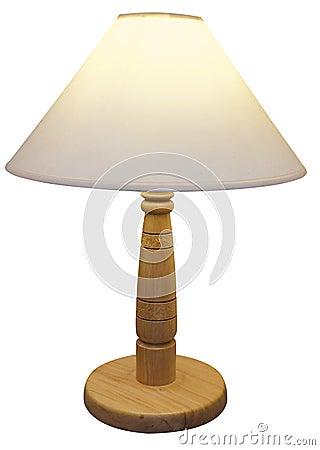 Lámpara basada de madera con la cortina