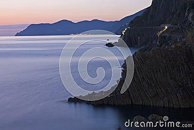 Línea de la playa de Cinque Terre