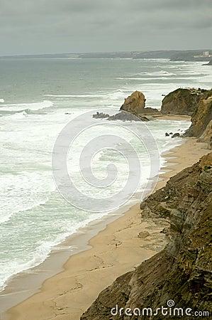 Línea de la playa rocosa