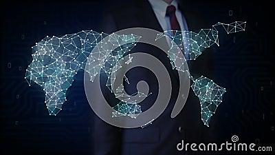 Lo schermo commovente dell'uomo d'affari, icona di tecnologia wireless collega la mappa di mondo globale i punti fa la mappa di m illustrazione di stock