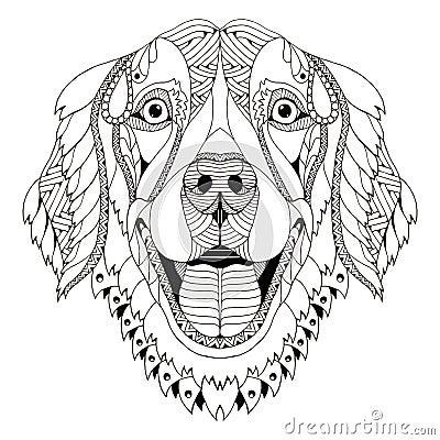 Lo Zentangle Del Cane Di Golden Retriever Ha Stilizzato La