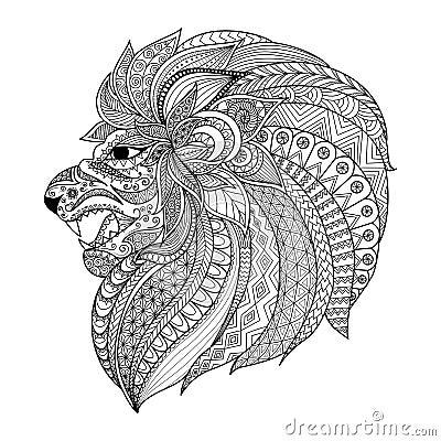 Lo zentangle dettagliato ha stilizzato il leone per il - Immagini di colorare le pagine del libro da colorare ...