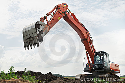 Loader excavator at construction
