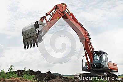 Loader excavator at construction