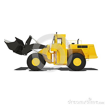 Loader excavator isolated on white
