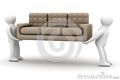 Loaders transfer a sofa.