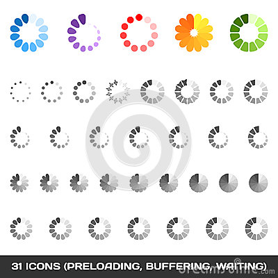 Free Loading And Buffering Icon Set. Preloaders. Vector Stock Photos - 35761573