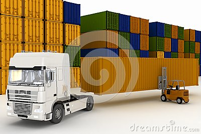 Loading of containers on big  truck