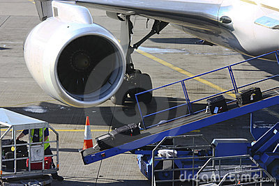 Loading luggage at the airport
