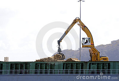 Loading ship with logs