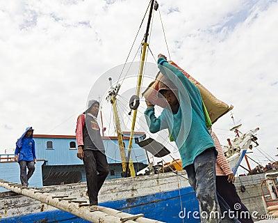 Loading Ships in Sunda Kelapa Editorial Stock Image