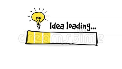 Loading status bar with light bulb, big idea, innovation concept, HD seamless loop Stock Photo