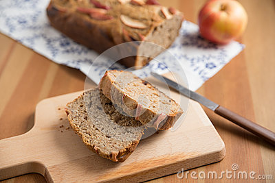 Loaf of apple nut bread Stock Photo