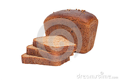 Loaf of bread and pieces of rye-bread