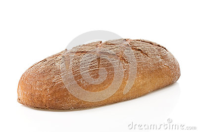 Loaf of bread on white