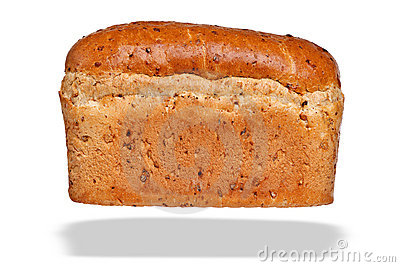 Loaf of granary bread isolated on white