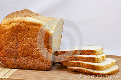 Loaf of homemade white bread sliced