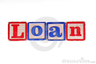 LOAN written with old wooden blocks